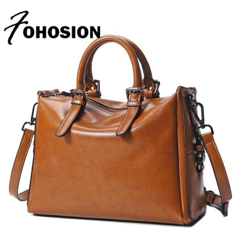 FOHOSION genuine leather Female handbags Women Cow Leather Totes Shoulder Bags High Quality Designer Luxury Brand Hand Bag retro donghong real cow leather ladies hand bags women genuine leather handbag shoulder bag hign quality designer luxury brand bag
