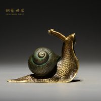 Copper copper art family pet snail tea ornaments copper iron pot lid Kung Fu tea accessories