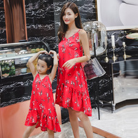 Dress Mama and Daughter V Neck Floral Baby Girl and Mother Clothes Beach Strap Mommy and Me Sundress Family Matching Outfits