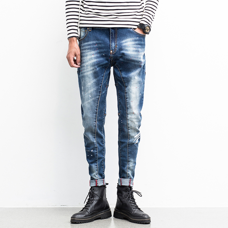 ФОТО Men Jeans Ripped Biker Hole Denim robin patch Harem jeans for men Pants