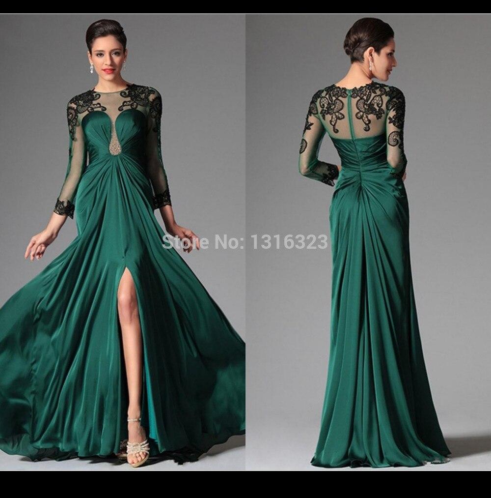 Emerald Illusion Long Sleeve 2014 Evening Dresses Sheer Crew ...