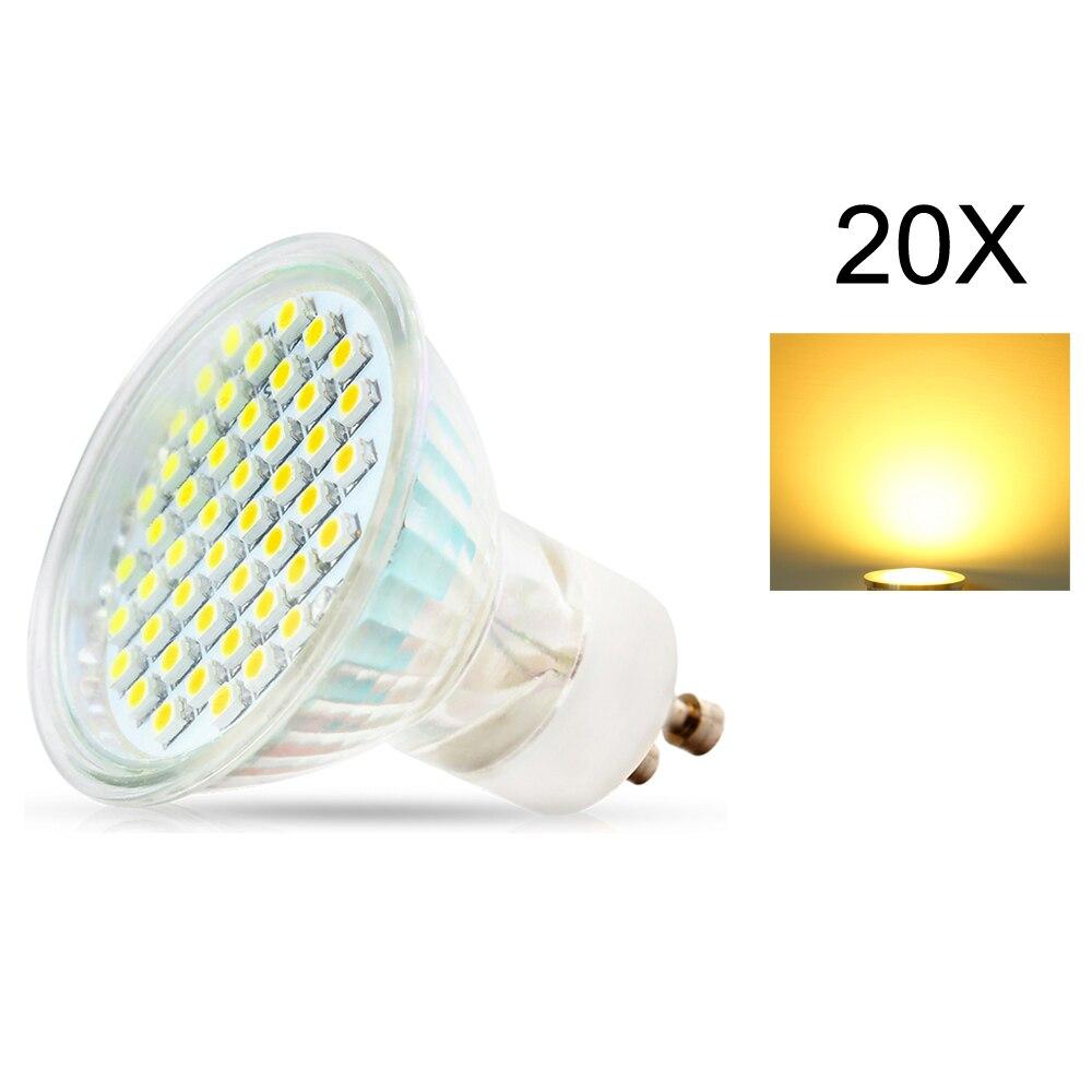 20X lámparas LED de lampara luz 3W GU10 2835 SMD 220VLed lámpara de foco cálido/blanco frío bombillas Led luz con cubierta de cristal de seguridad - 2