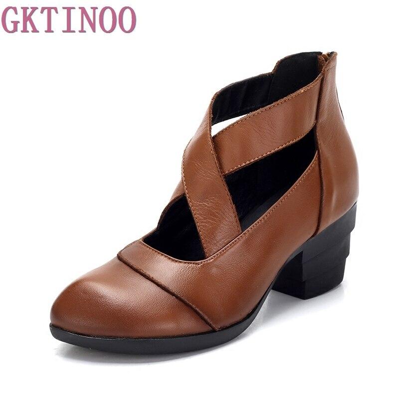 GKTINOO 2019 Estilo Vintage correas cruzadas zapatos de mujer hechos a mano zapatos de tacón alto de cuero genuino zapatos puntiagudos-in Zapatos de tacón de mujer from zapatos    2