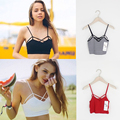 Feminina primavera estilo verão 2016 nova coreano moda mulheres sexy correias cruz A0865 vermelho sem alças branco colete feminino