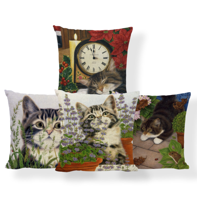 Lovely Cat Cushion Covers Colorful Flowes Green Brown Leaves Pillowcases Home Sofa Decorate Mouse Owl Stone Statue Throw Pillows