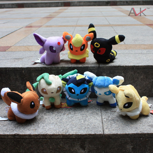 Hot sale Free shipment Japan Anime Cartoon Character  fairy combination Eeveelution Plush peluche Pokemon eevee toy