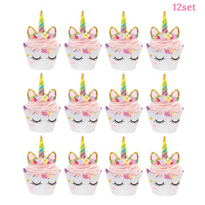 Image 4 - Unicorn Cake Topper Unicornio Horn Ears Cake Decorations Cupcake Toppers Baby Shower Birthday Party Supplies Baking Tools