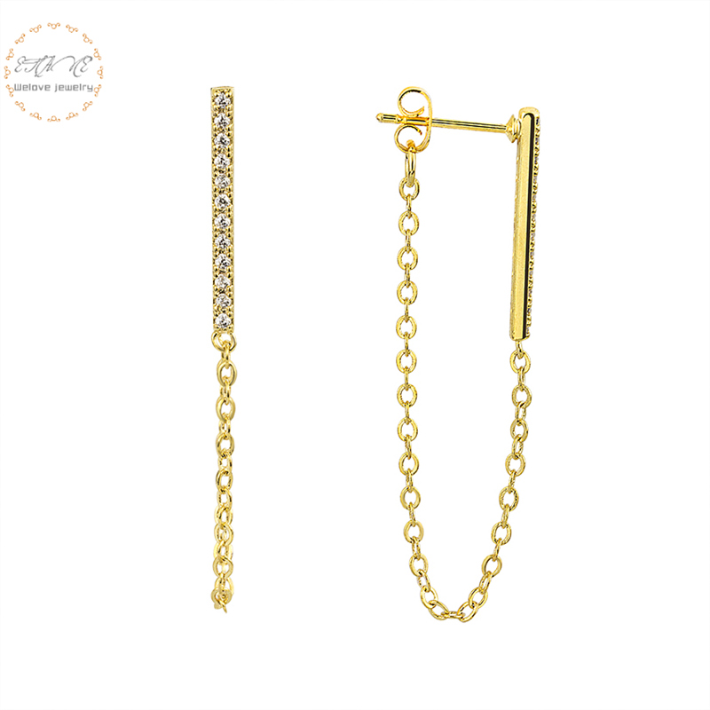Long Chain Brincos Femme Gold Color Crystal Bar Stud Earrings For Women Tassel Jewelry Unique Best Friend Gift 2019