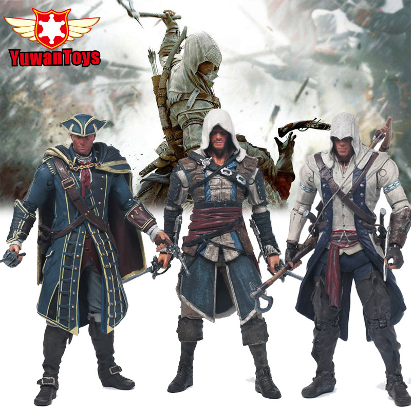 Original Box Assassins Creed 4 Black Flag Connor Haytham Kenway Edward Kenway 6 Inches PVC Action Figure Toys Collection odel snsd kim hyo yeon autographed signed original photo 4 6 inches collection new korean freeshipping 02 2017 01