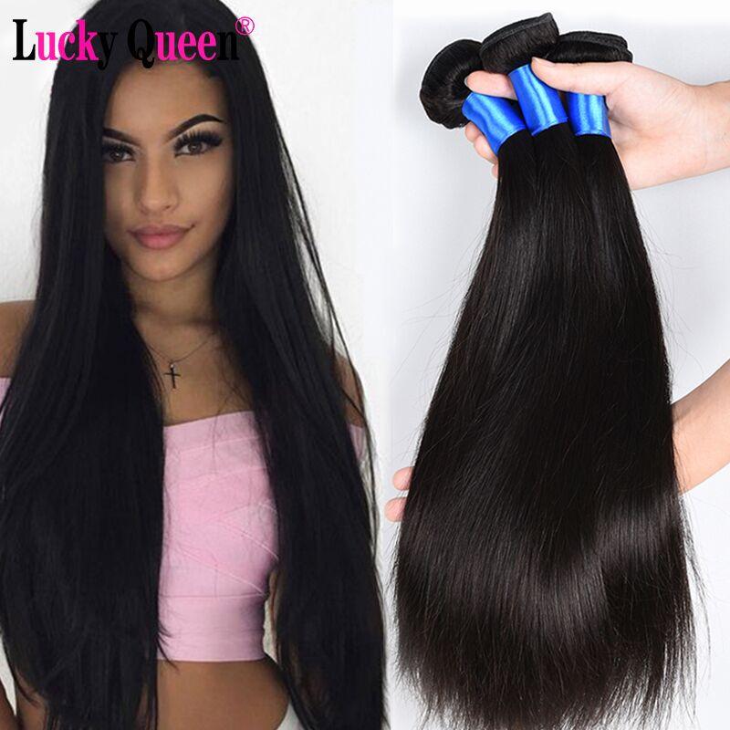 Lucky Queen Hair Products perui egyenes haj 8-28inch 100% -os emberi - Emberi haj (fekete)