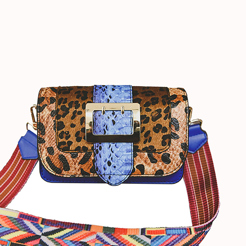 ФОТО England Style Leather Handbags Women Sexy Leopard Crossbody Bags Snake Pattern Baguette Bags Wide Strap Messenger Bag