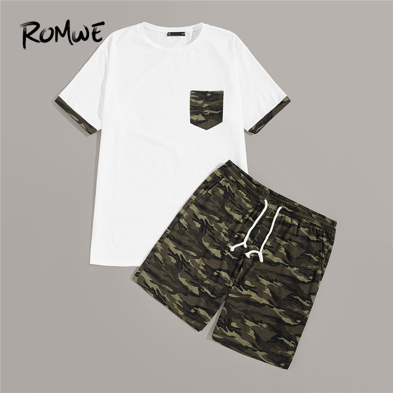 ROMWE Man Pocket Patched White Tees And Drawstring Shorts Mens Set Male Short Sleeve Tshirt With Camo Shorts Two Pieces Co-ords