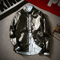 Man spring 100%PU jackets Autumn New Korean slim casual leather coat size M-5XL