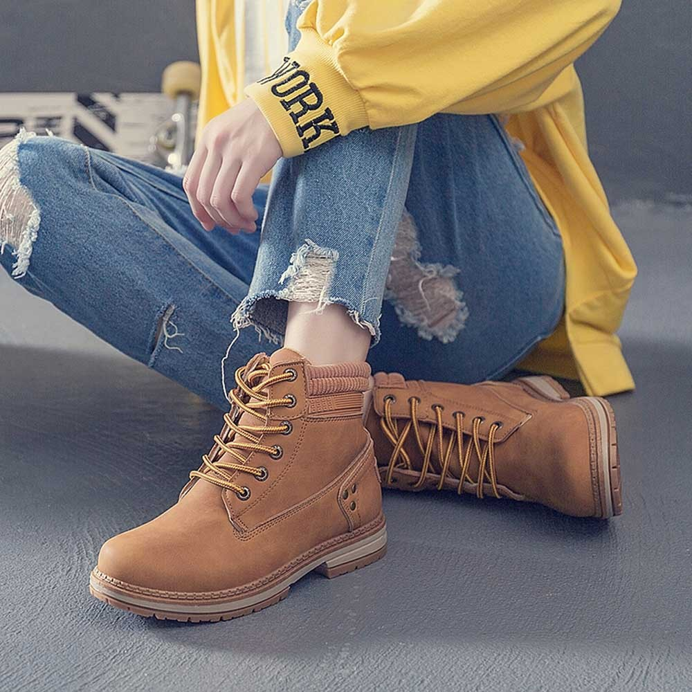 Women Boots Solid Lace Up Casual Ankle Boots Round Toe Shoes Student Snow Boots Classic Winter Warm Ladies Shoes T## 27