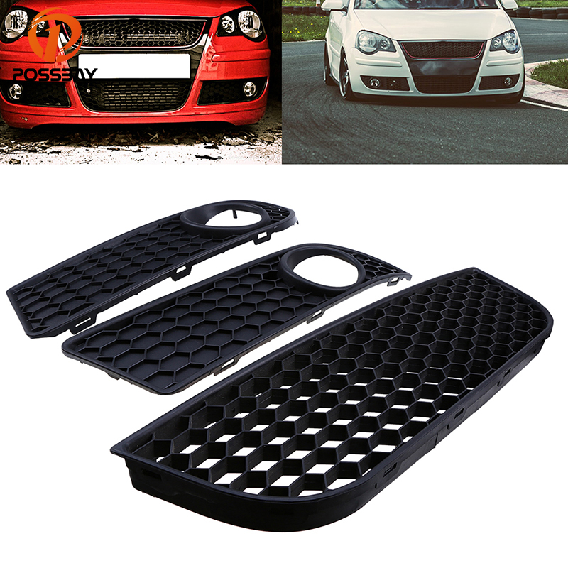 POSSBAY 3 Pcs Car Front Bumper Lower Grille Fog Light Cover for VW Polo MK4 9N3 2005/2006-2009 Facelift Auto Side Accessories possbay front bumper grille led angel eye fog lights for vw polo mk4 9n3 2005 2009 facelift led front foglamps