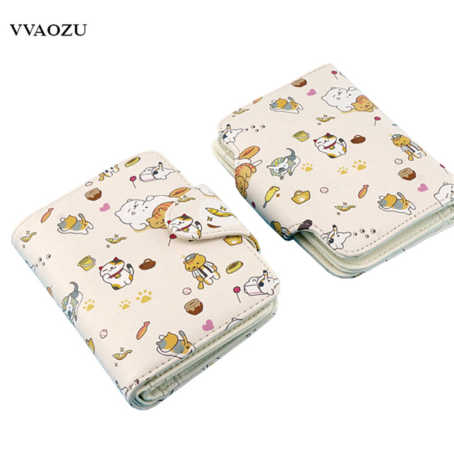 New Neko Atsume Short Wallet Kawaii Harajuku Women Girls Credit Card Holder  PU Cat Backyard Purse