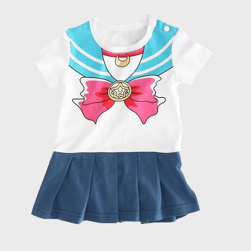 Halloween Baby Girls Sailor Moon Cosplay Costume Baby Snap Crotch   Romper   Magical Onesie Mini Skirt Set Festival Siamese Clothes