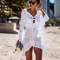 2019 Hollow Long Beach Dress Bikini Cover Up knit bell sleeve Beach Woman Swim Wear Bathing Suit Cover Ups Swim Suit Beach Tunic