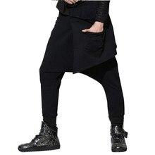 Hombres entrepierna pantalones negros delgados pantalones Jogger sweatpant pantalones  casuales calle moda hiphop harem Pant 0c559106042