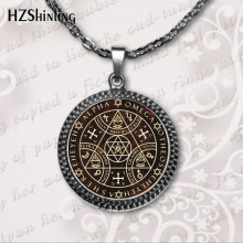 2018 Key of Solomon Sigil Logo Round Pendant Necklace Vintage Novel Choker Necklace Jewelry Gift Gaudy Adventurer HZ1(China)