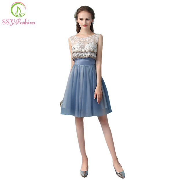 SSYFashion New Banquet Elegant Short Evening Dress Scoop Lace Beading Grey Blue  Party Custom Formal Gown Robe De Soiree 8cf483575baa