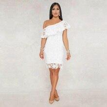Off Shoulder Lace Short Sleeve Bandage Dresses