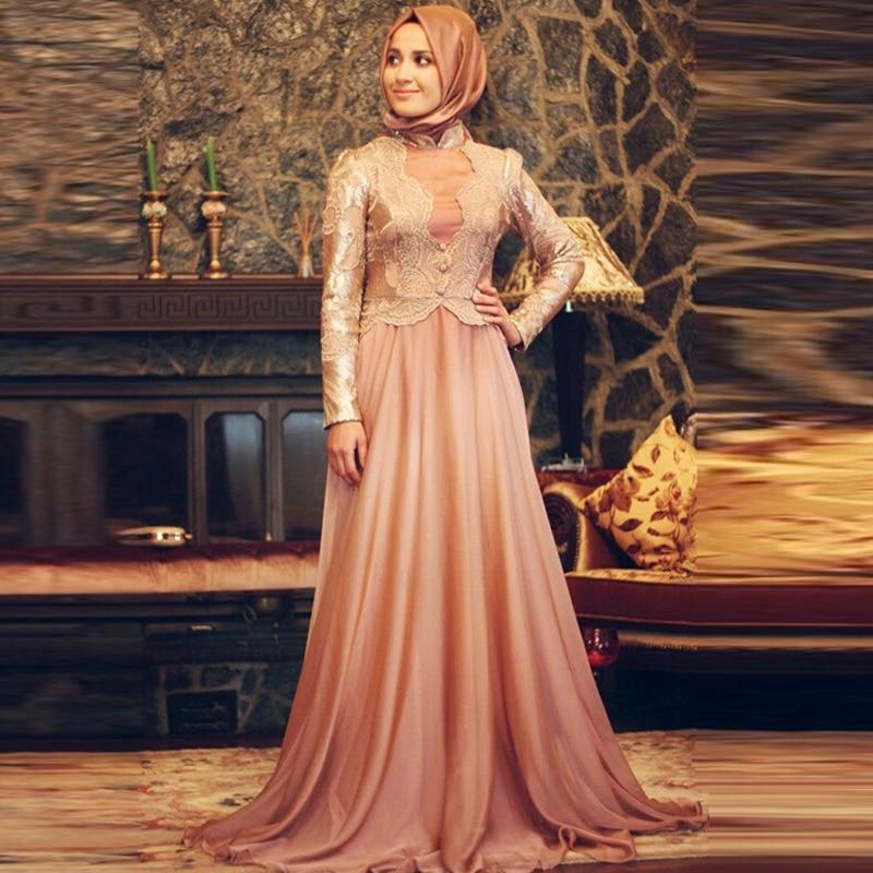 Fashion font b Hijab b font Islamic Long Sleeve Muslim Prom Dresses Evening Dress For Muslim