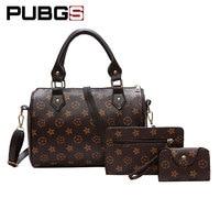 Women S Handbags Retro Female Shoulder Messenger Bag 3 Piece Set Pu Leather Printing Totes Designer