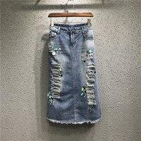 Summer Women Jeans Skirt High Waist Casual Plus Size Girls Skirts Chic Handmade Beaded Cowboy Denim Jeans Skirt Faldas Mujer Q39