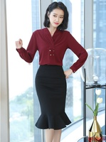 New 2019 Fashion Ladies Blouses Women Business Suits with Skirt and Top Sets Work Wear Shirts Female OL Styles Wine Red
