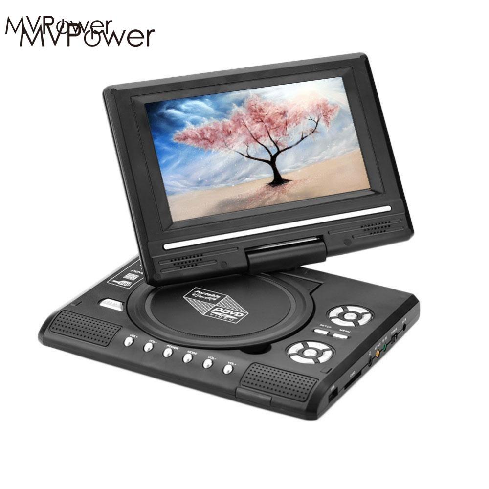 MVpower 7.0 LCD Portable DVD Player 270 Degree Swivel Screen TV Game USB FM AV In Car Charger 2018dvd player game player blu ray player portable rotatable 270 degree lcd gamepad 12v audio