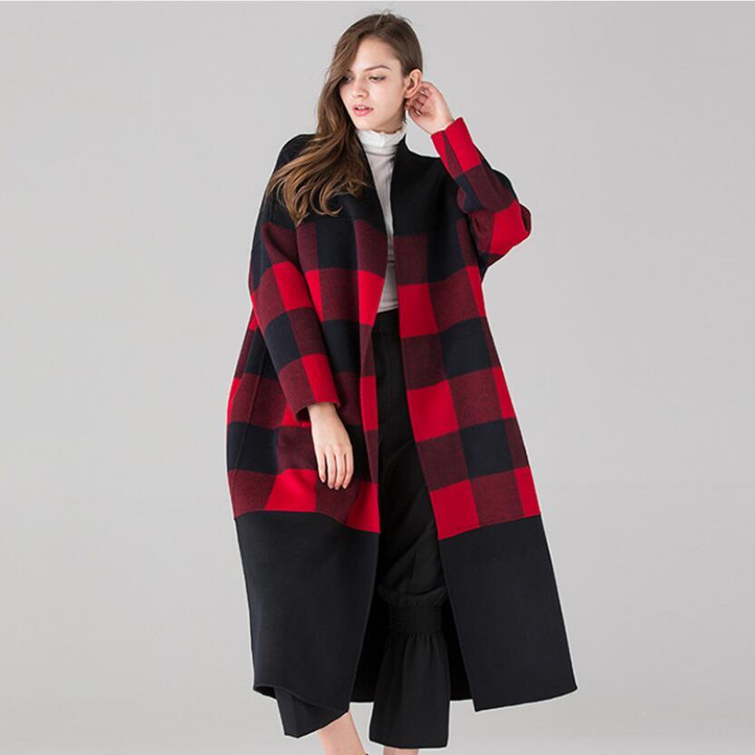 En Cachemire Noir Femelle Red Double Femmes Haut La 2019 Main Rouge De À face Gamme Laine D'hiver Manteau Nouveau Veste Cardigan cou Black V Long Plaid pOPFFqw1v