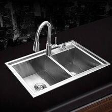 (780*430*220 мм) 304 нержавеющая сталь undermount ручной работы Кухня раковина + кран + фильтр установлен и промыть корзины и мыла
