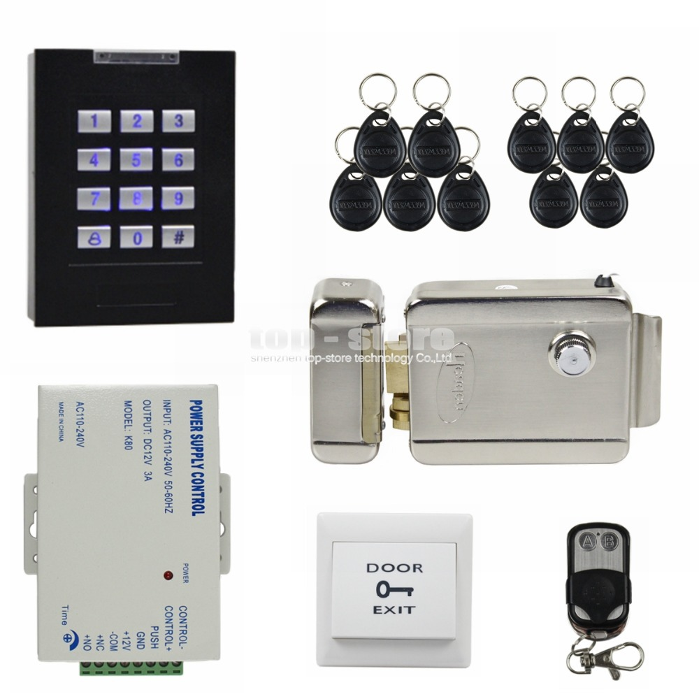 DIYSECUR Electric Lock Remote Control Door Lock 125KHz RFID Reader Blue Backlight Keypad Door Access Control Security System diysecur rfid keypad door access control security system kit electronic door lock for home office b100