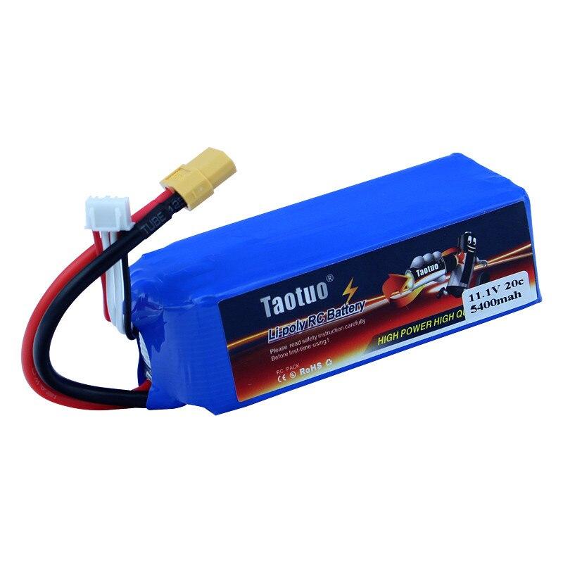 Livraison gratuite 11.1V 5400mAh 3S 20C XT60 Taotuo Lipo batterie pour V303 V393 CX-20 X380 RC Drone hélicoptère quadrirotor voiture