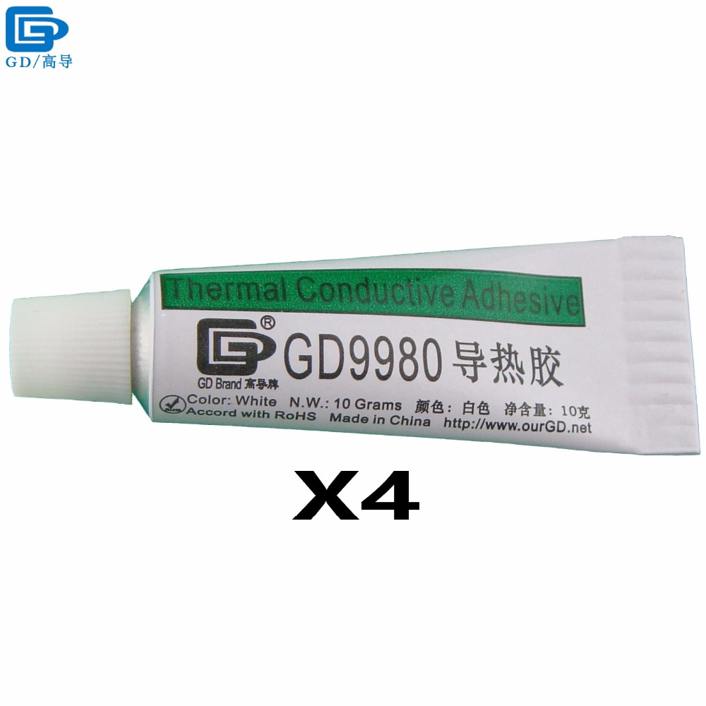 GD Brand Thermally Conductive Adhesive Glue GD9980 Heat Sink Plaster With Adhesive 4 Pieces White Net Weight 10 Grams ST10 gd brand thermal conductive grease compound paste silicone gd220 heat sink plaster net weight 90 grams gray for led ps4 cpu st90
