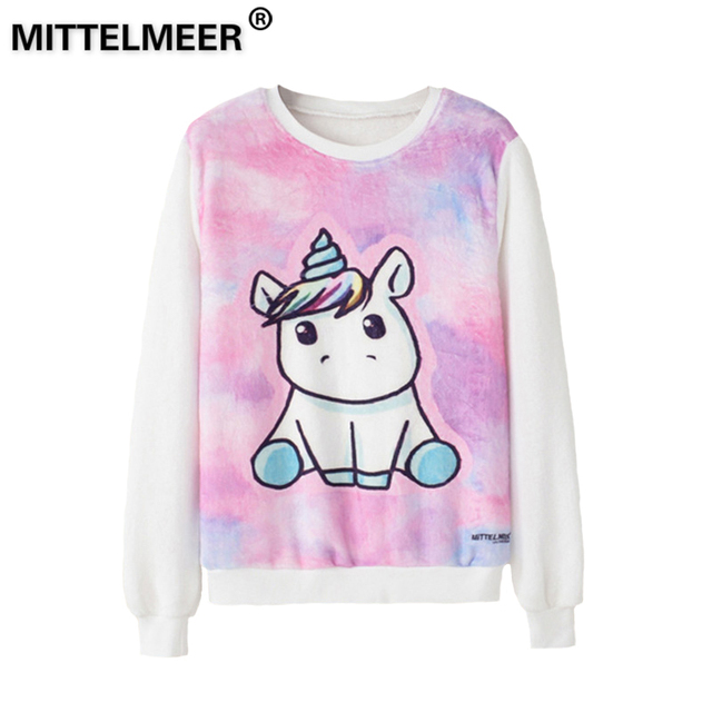 dc94d237e4b5c MITTELMEER bts Harajuku Sweatshirt Woman girls elasticity Cartoon unicorn  cat Animal fruit printing Sweatshirt Hooded