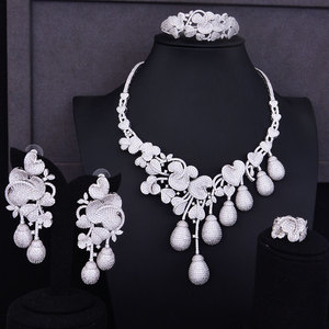 Image 4 - GODKI יוקרה פרח ניצן מעורב נשים חתונה מעוקב Zirconia שרשרת עגיל ערב הסעודית תכשיטי סט תכשיטי התמכרות