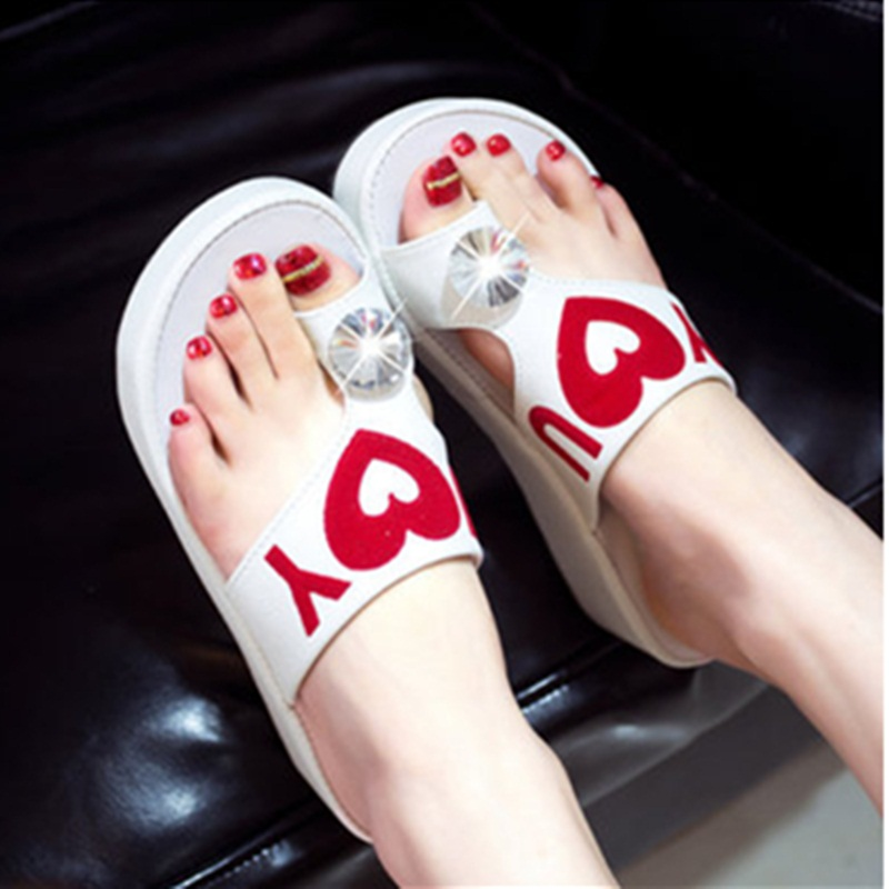 Female Love heart Thick high Faux Diamond Wedges Beach Shoes Girl Chunky High Heels sandals Women Zoris Flip flops Plus size40