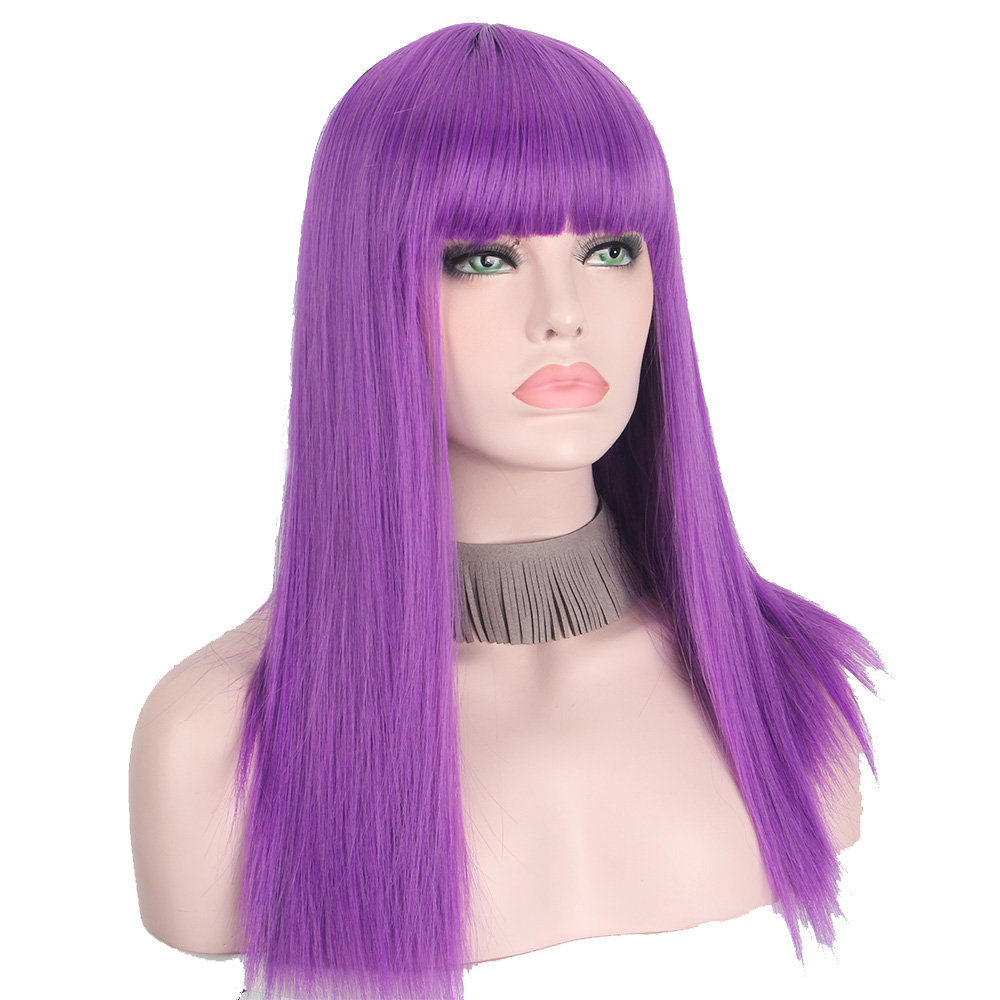Anxin Synthetic Long Straight  Wigs Natural  Flat Bangs For Women  Cosplay Wig Purple Color