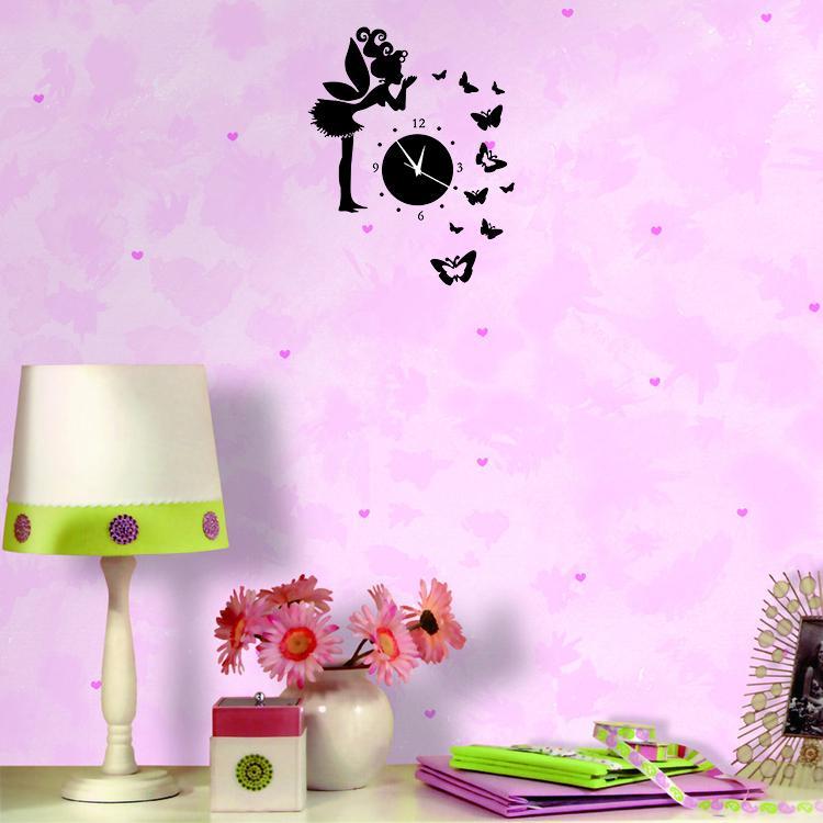 Butterfly Angel 3D Mirror Wall Stickers Acrylic Wall Clock ...
