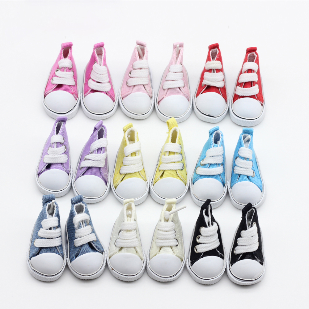 9color Assorted 5cm Canvas Shoes For BJD Doll Fesyen Mini Toy Shoes Sneaker Bjd Dolls Kasut untuk Aksesori Doll Rusia et013