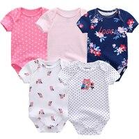 5PCS Set Newborn Baby Rompers Boy Playsuit Clothes 100 Cotton Striped Cute Jumpsuit Infant Girl Body
