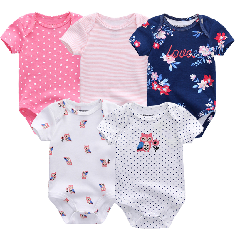 5PCS/Set Newborn Baby Rompers Boy Playsuit Clothes 100% Cotton Striped Cute Jumpsuit  Infant Girl Body Romper Clothing for 0-12M cute newborn baby girl clothes little princess striped bow romper sunsuit infant bebes jumpsuit children clothes