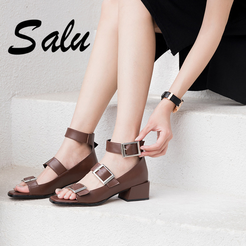 Salu 2019 Summer Sexy Fashion Women Genuine Leather Shoes Woman Sandals Women Buckle Casual Shoes Sandals