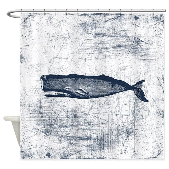 Vintage Whale Dark Blue Shower Curtain Decorative Fabric For Bathroom Waterproof Polyester
