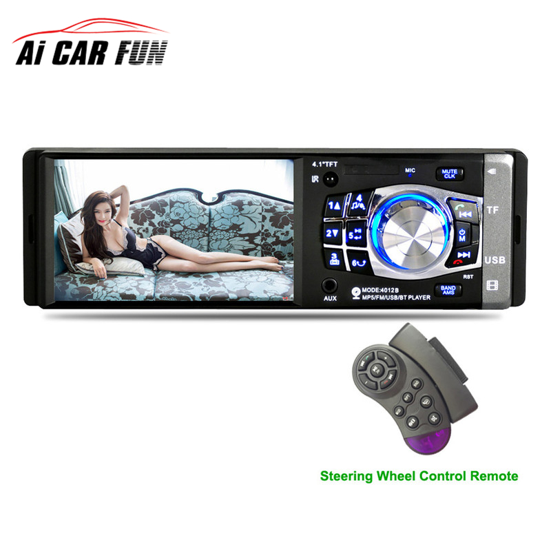 1 Din Car Radio Auto Audio Stereo FM Bluetooth 2.0 4012B 4.1 inch Support Rear View Camera USB Steering Wheel Remote Control 7 2 din bluetooth auto car stereo mp5 player gps navigation support fm radio with rear view camera