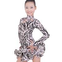 Free shipping 1 piece Girls latin Dress Performance Dancewear zebra pattern milk silk dance dress