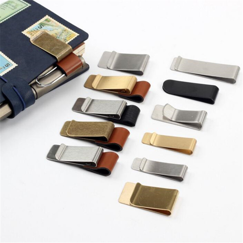 1pcs Metal Leather Pen Holder Stainless Steel Pen Clip For Notebook Diary School Office Accessories