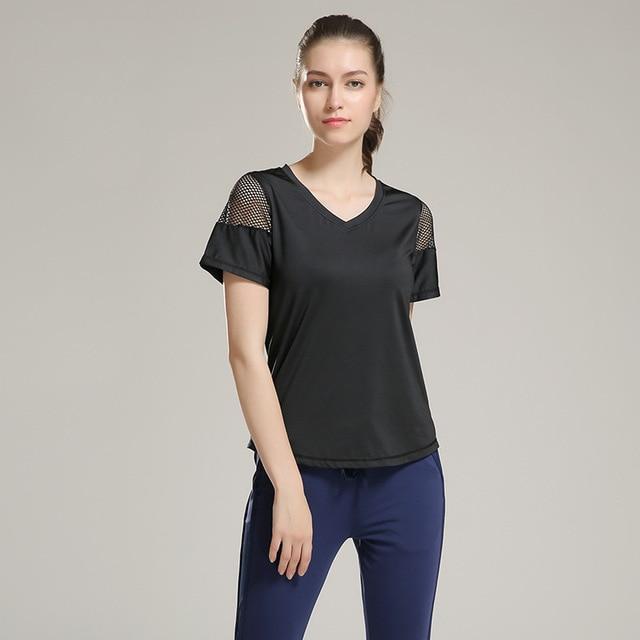 Eshtanga woman short sleeve shirt  Elastic Yoga Mesh Sports T Shirt Fitness Women's Gym Running Black Tops tee free shipping